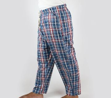 Navy Blue Extra Relax Cotton Multi Color Check Trouser For Men