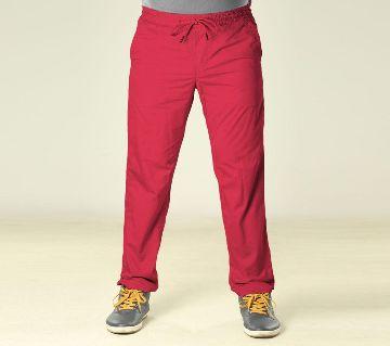 Summer Night Comfort Red Cotton Sleeping Jogger For Men