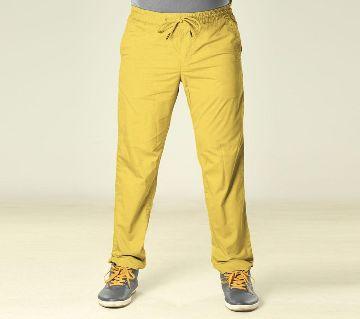 Summer Night Comfort Yellow Cotton Sleeping Jogger For Men