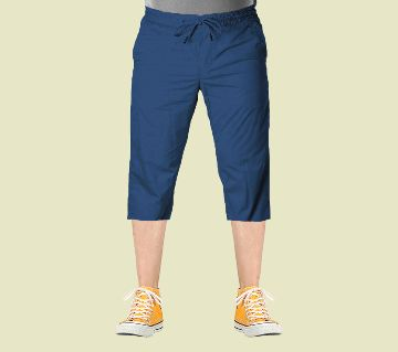 3 Quarter High Quality Gabardine Type Summer Trouser For Men Navy Blue (Elastic Hip)