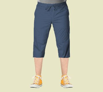 3 Quarter High Quality Gabardine Type Summer Trouser For Men Light Blue - Elastic Hip