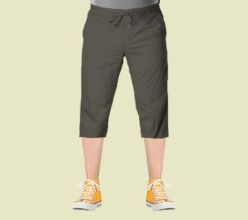3 Quarter High Quality Gabardine Type Summer Trouser For Men - Olive (Elastic Hip)