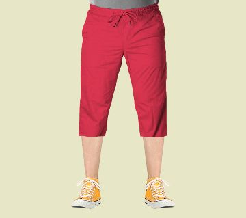 3 Quarter High Quality Gabardine Type Summer Trouser For Men Red - Elastic Hip