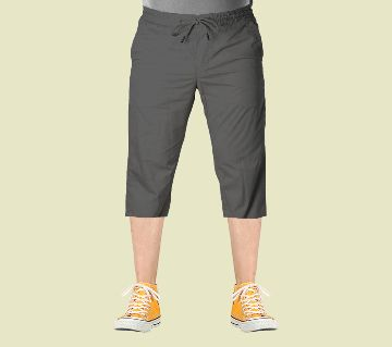 3 Quarter High Quality Gabardine Type Summer Trouser For Men - Gray (Elastic Hip)