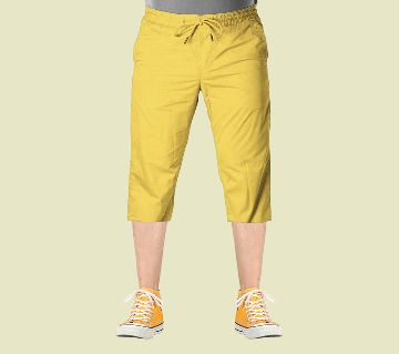 3 Quarter High Quality Gabardine Type Summer Trouser For Men - Yellow (Elastic Hip)