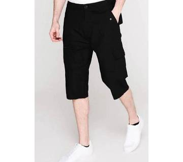 Cotton - PIERRE CARDIN three quarter Cargo Shorts Mens Black