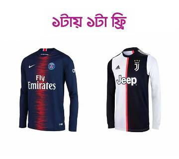 Juventus Home Full Sleeve Jersey ফুল স্লিভ  জার্সি (Copy)+PSG Home Full Sleeve Jersey
