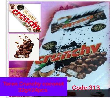 Toren Crunchy Coconut bar_withMilky Compound Crispied rice white-(1BOX)-Turkey 24 pcs/Box