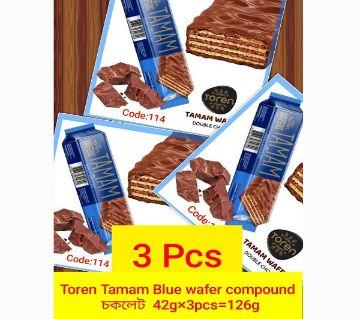TAMAM BLUE CHOCOLATE COATED WAFER WITH HAZELNUT CREAM-(3 PCS) TURKEY- 126gm/(3 PCS)