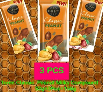 TOREN CLASSIC MILKY COMPOUND PEANUT CHOCOLATE-(3 PCS) TURKEY 156gm/(3 PCS)
