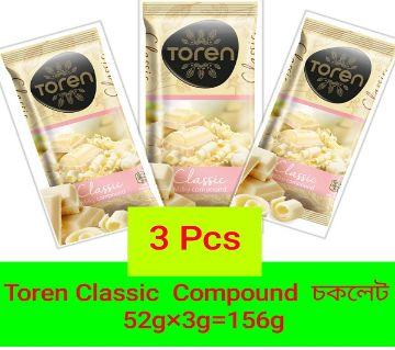 TOREN CLASSIC COMPOUND CHOCOLATE WITH WHITE -(3 PCS) TURKEY 156gm/(3 PCS)