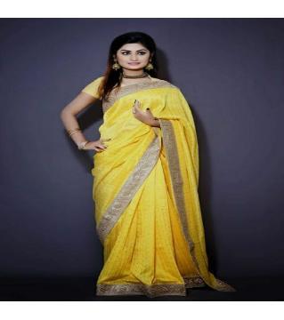 Dhupiyan saree no blouse piece  yellow