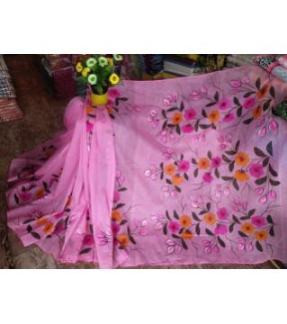 Hand paint Half slik saree without blouse pcs pink