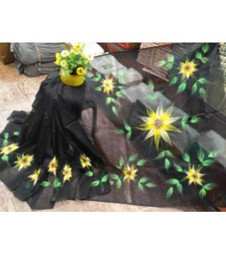 Handprint half silk saree without blouse pcs Black