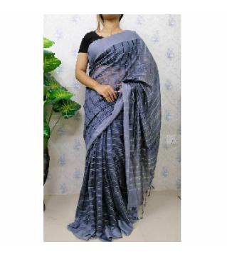 Joom saree with blouse piece  -sky blue