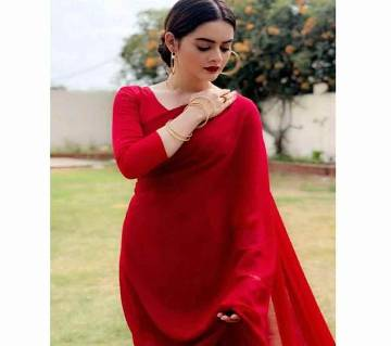 indian weightless georgette saree with blouse piece-red