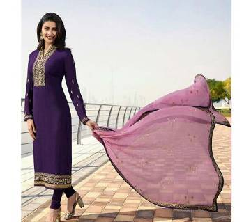 Unstitched Georgette Embroidery Shalwer Kameez For women-3pcs-purple