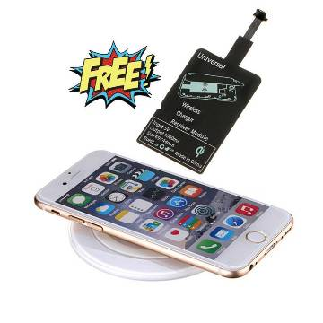 Wireless Black Charging Pad Universal Charger with Wireless Charging Receiver Free-White