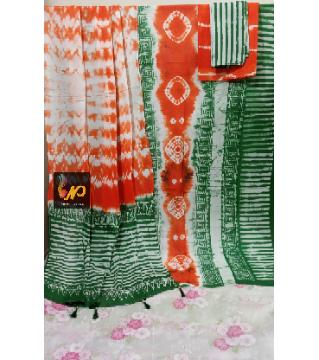 Unstitched Orgendy Batiq Threepiece Green Orange