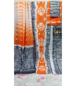 Unstitched Orgendy Batiq Threepiece Grey Orange