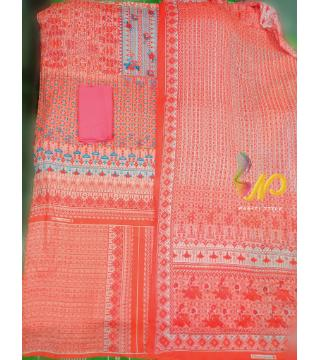 Ferdous Lawn Cotton Threepiece Orange Color orange color