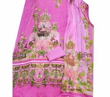 Unstitched Ferdous Lawn Cotton Threepiece Color Pink