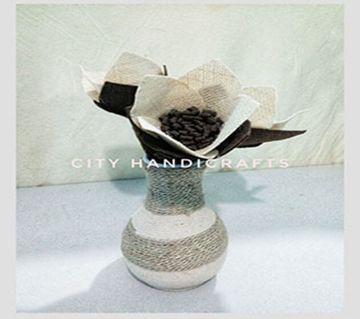Jute and felt mix flower and flower vase