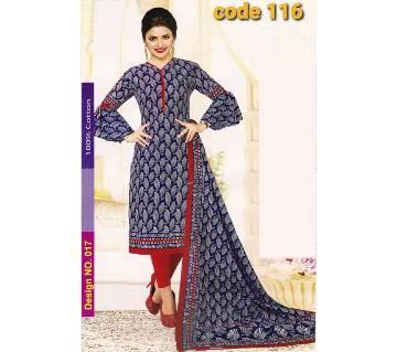 Unstitched Jaipuri Cotton salwar kameez-blue