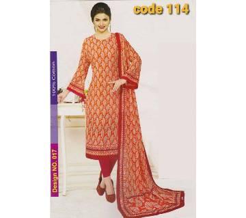 Unstitched Jaipuri Cotton salwar kameez-orange