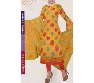 Unstitched Jaipuri Cotton salwar kameez-yellow