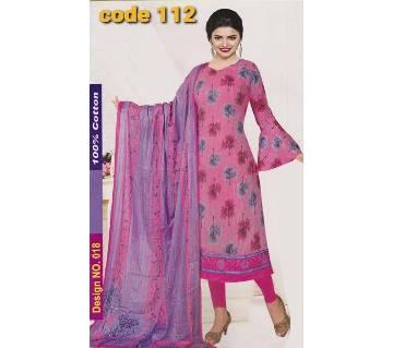 Unstitched Jaipuri Cotton salwar kameez -pink
