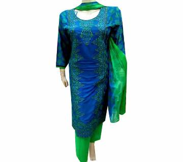 readymade Embroidery Lilen Three Piece With Screen Print