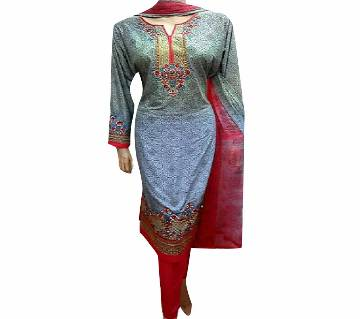 readymade Lilen Embroidery Three Piece With Screen Print