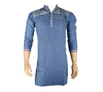 Cotton Semi Long Blue Panjabi for men 18