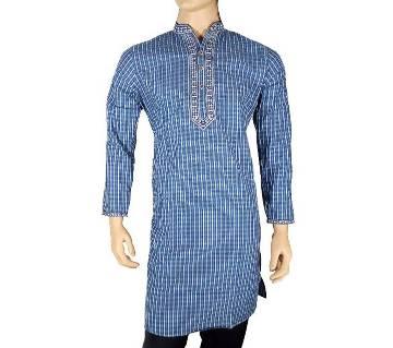 Cotton Semi Long Blue Striped Panjabi for men 20