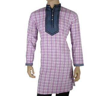 Cotton Semi Long Multicolor Check Panjabi for men 21