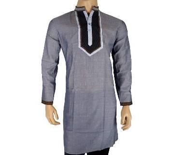 Cotton Semi Long Deep Ash Panjabi for men 22