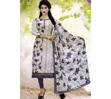 Unstitched Cotton Salwar Kameez (Silver Long Three Piece)-Gamcha-17