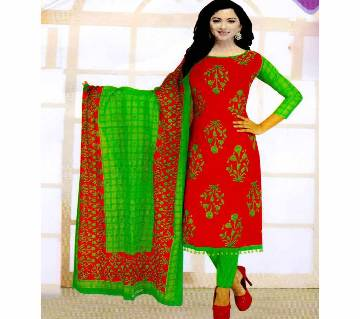 Unstitched Cotton Salwar Kameez (Silver Long Three Piece) Gamcha-22