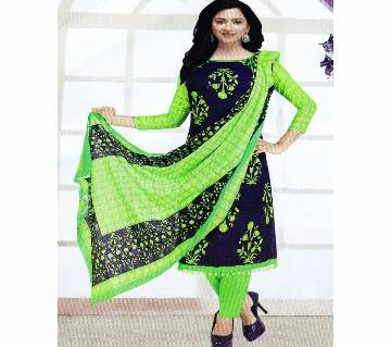 Unstitched Cotton Salwar Kameez (Silver Long Three Piece)-Gamcha-27
