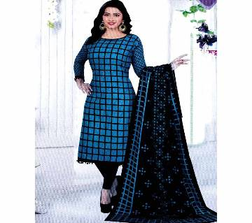 Unstitched Cotton Salwar Kameez (Silver Long Three Piece) Gamcha 29