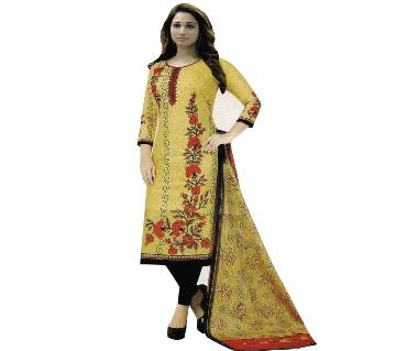 Unstitched Cotton Salwar Kameez (Silver Long Three Piece) Gamcha 14