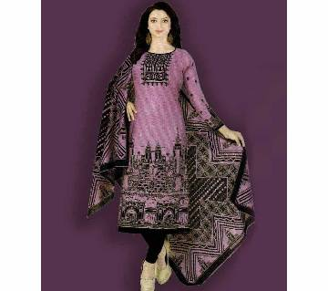 Unstitched Cotton Salwar Kameez (Silver Long Three Piece)
