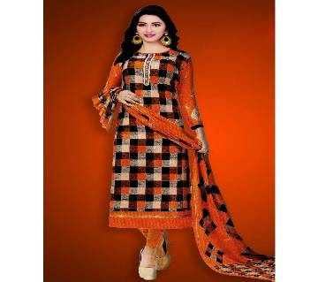 Unstitched Cotton Salwar Kameez (Silver Long Three Piece (3 pcs) - orange & Black