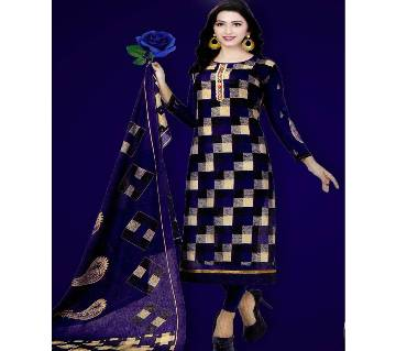 Unstitched Cotton Salwar Kameez (Silver Long Three Piece (3 pcs) - blue & Black