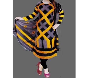 Unstitched Cotton Salwar Kameez (Silver Long Three Piece (3 pcs) - Yellow & Black