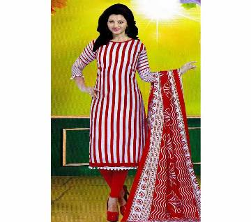 Unstitched Cotton Salwar Kameez (Silver Long Three Piece) Gamcha 32 red striped