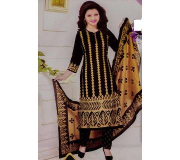 Comfortable Unstitched Cotton  Long Pakiza Three-Piece for for women-black
