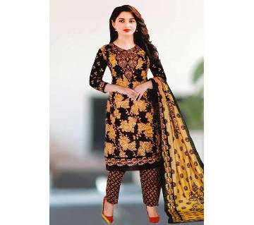 Comfortable Unstitched Cotton  Long Pakiza Three-Piece for for women (04)