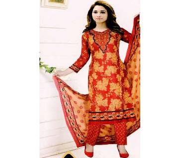 Comfortable Unstitched Cotton  Long Pakiza Three-Piece for for women 05-magenta
